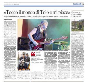 L'intervista a Roger Glover sul Mattino di Padova del 6 aprile 2016 (di Michele Bugliari)