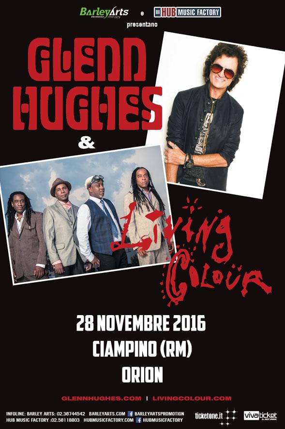 Locandina del concerto di Glenn Hughes e Living Colour a Ciampino 2016