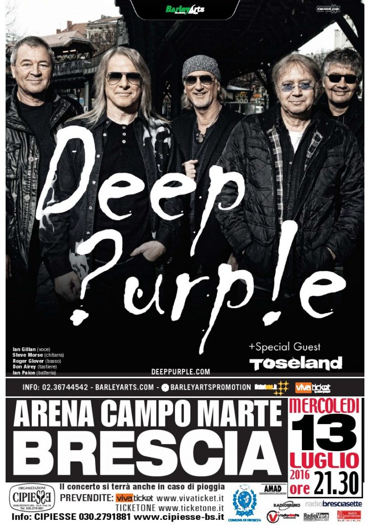 Locandina Deep Purple Brescia 2016