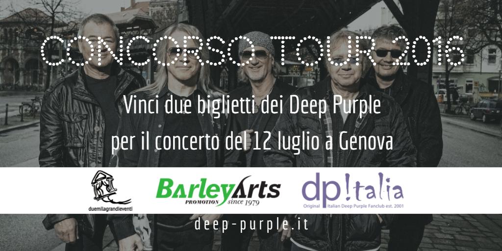 Concorso Deep Purple Italia Tour 2016 Genova